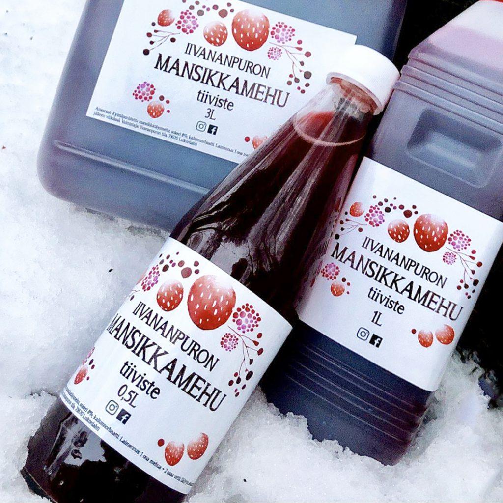 Iivananpuron mehutiiviste on puristettu suoraan omista mansikoistamme. Tiivistettä myydään 0.5, 1 ja 3 litran pulloissa tilamyynnistä käsin.